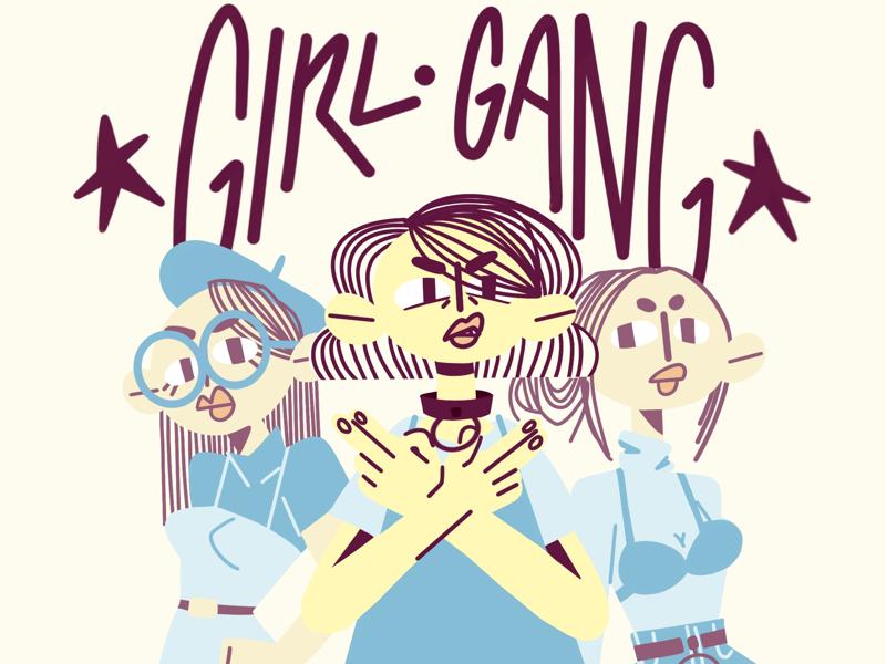 Girl Gang styleframe type handwritten flat illustration