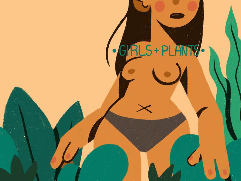 Girls+Plants Zine Cover procreate flat character 2d design zine minimal illustration