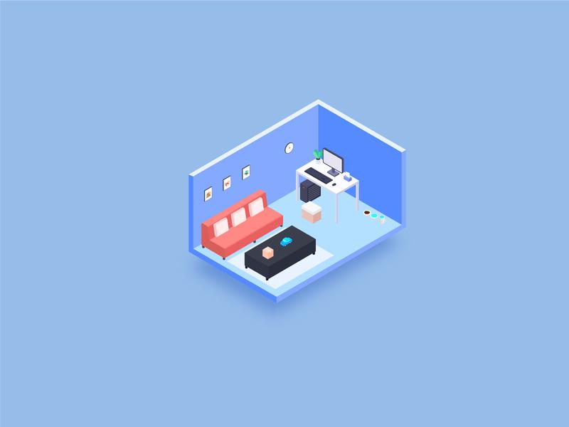 home 2.5d illustration
