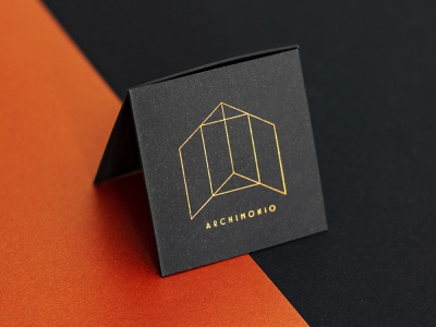 Business Card Archimonio square fedrigoni copperplate black architecture illustration business card branding brand design art direction logo graphic  design