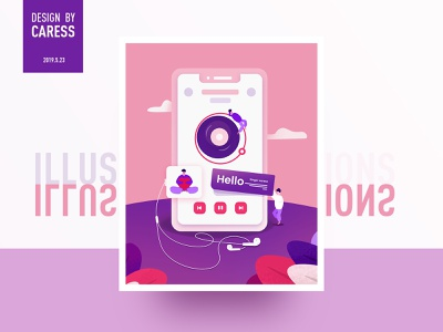 Music app illustration music app illustration ui