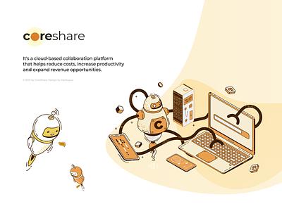 CoreShare - description branding wordpress html2css5 css5 html3 figma illustration design develop ux uiux website graphic design animation ui
