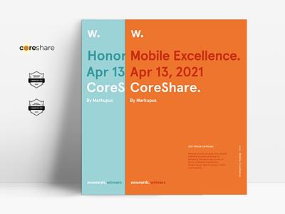 CoreShare - awards diploma certificate site website vector illustration figma graphic design awwwards awards ui