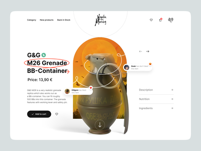 NitM – Product Page ui ux ui design ux design product product page clean minimal weapon grenade delivery cart shop