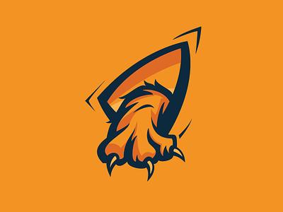 Tiger Claw Esport Logo black blue orange brand design logo esport claw tiger