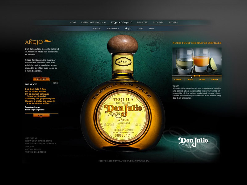 Don Julio web 2 of 3 agave dark ui ux tequila site web julio don