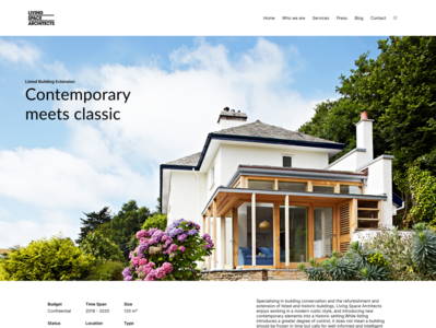 Portfolio Page Concept first shot architect website design devon architecture website concept
