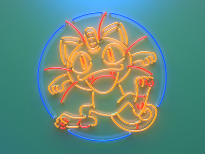 Pokeman Go Meowth Neon Sign