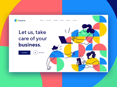 Cacel.io | CRM Company | Hero Animation webdesign landingpage motion animation hero crm portal crm software yellow green blue colorful shapes home homepage