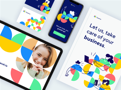 Cacel.io | CRM Company | Branding Elements green logo crm crm software concept redesign new colorful colors circle semicircle shapes elements braning yellow green red