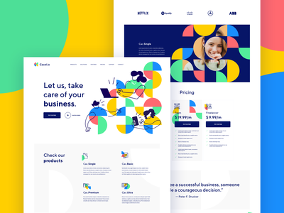 Cacel.io | CRM Company | Home website symbol brand lp homepage home circle semicircle green blue and yellow red blue software design crm software crm portal crm sketch colors color shapes