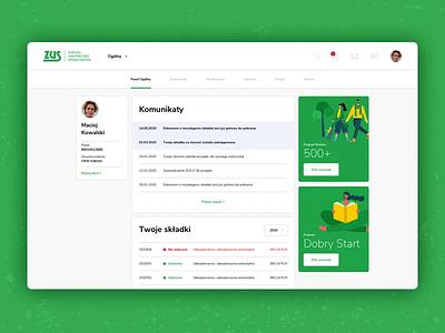 ZUS | Redesign Concpect | Panel Animation redesign poland dashboard ui ui animation insurance ubezpieczenia urząd polska dashboard panel zakład ubezpieczeń społecznych