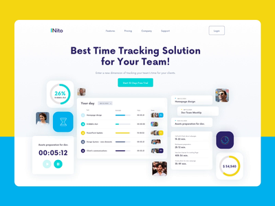 Nito - Time Tracking Solution - Hero Animation nito uxdesign ui design green blue yellow people teamwork team tracking app tracking time ui