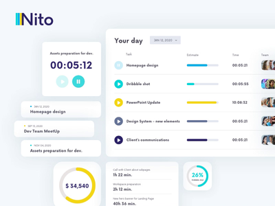 Nito - Time Tracking Solution - Interface Elements task manager tasks task list pause play interactive tracking app time tracking time dashboard design dashboard ui dashboad interface