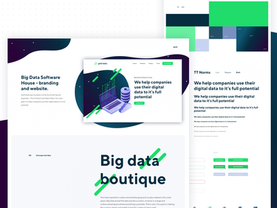Getindata - Behace Case Study logo branding landingpage isometric styleguide behance cosmos galaxy space software software house big data get in data getindata