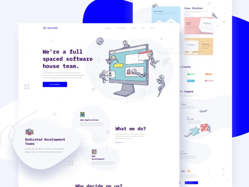 SpaceSoft - Software House Website team illustration programing development software software house web design design astronauts asteroid website cosmos page landing