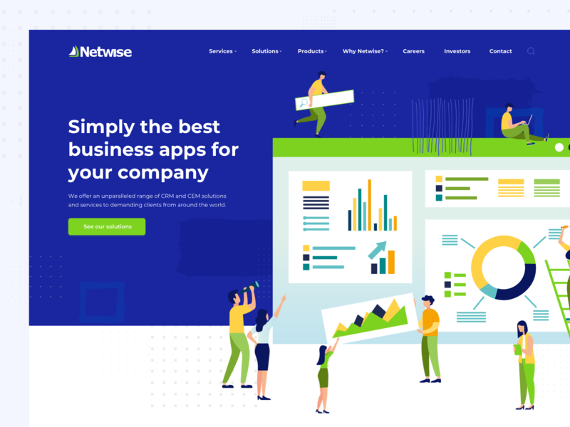 Netwise - CRM Solution Company | Home flat ilustration blues green dots crm solution ux ui software house company illustration webiste landing page crm