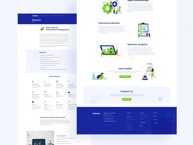 Netwise - CRM Solution Company | Subpages brand design iconset subpages crm landingpage website ilustration company software house ui ux crm solution dots green blue flat ilustration