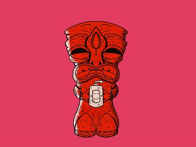 Tiki God of Hand Sanitizer! weirdo retro wash your hands tiki bar ipadproart social distancing quarantine drawing tiki procreate app fun art illustration