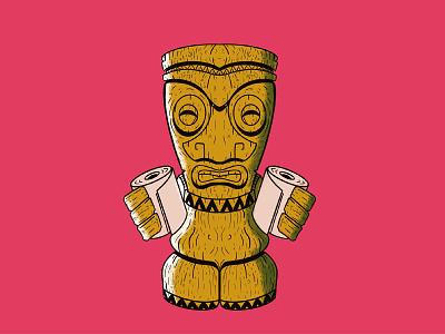 TP Tiki isolation art quarantine social distancing cartoon illustration idol drawing ipadproart procreate tiki bar tiki toiletpaper hoarding retro fun art illustration