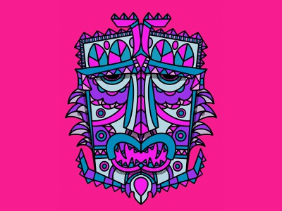 Tiki Mask coloring book doodle procreate drawing tiki retro ipad pro procreateapp fun art tiki mask coloring page monoline illustration