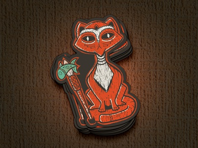 Behold the Tiki Cat! sticker design drawing design mockup tiki cat fun retro tiki bar sticker vintage vector illustration illustrator cat tiki