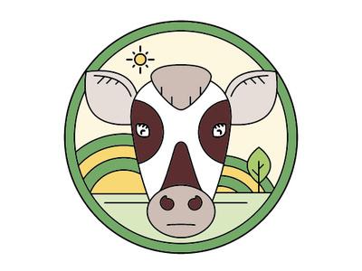 Cow in the sun logo monoline flat vector design illustration
