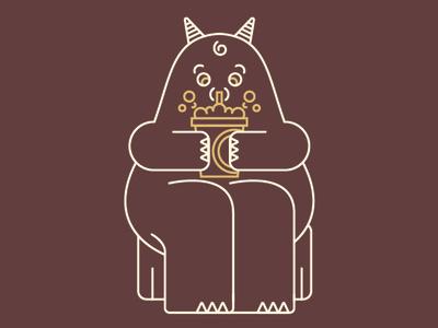 Monster Sippin' an Iced Latte fun art vector monoline logo illustration flat design
