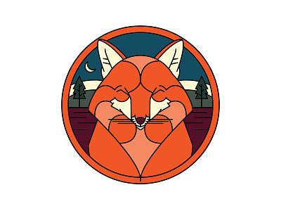 Moonlight Fox branding logo flat icon fun art vector monoline illustration design