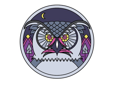 Night Owl illustrator cc owl logo owl logo monoline branding icon flat vector illustration design