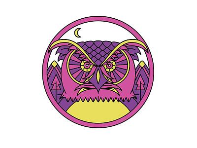 Night Owl T-Shirt illustrator cc tshirt art owl monoline icon fun art flat vector illustration design