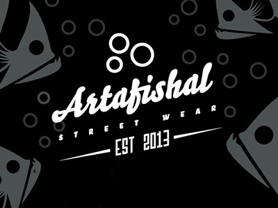 Artafishal Type Logo fish bubble fin clothing logo logotype artafishal street wear