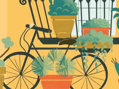 Sevilla digital plants bicycle illustration