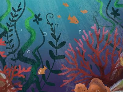 Under The Sea digital sea fish coral water illustration