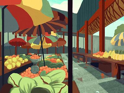 Sir Selwyn Clarke Market tropical bright colourful digital food fruit market illustration