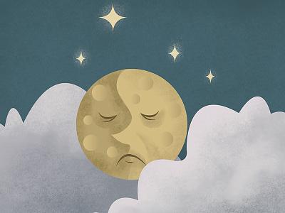 Man In The Mune digital night clouds stars moon sky illustration