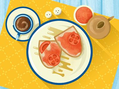 Tostada y Cafe con Leche spanish breakfast bright colourful digital food coffee tostada illustration