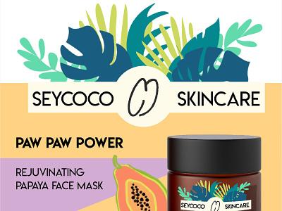 Seycoco Branding tropical fruit papaya leaves illustration skincare cosmetics branding