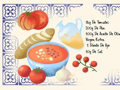 Salmorejo Recipe spanish recipe design food illustration digital