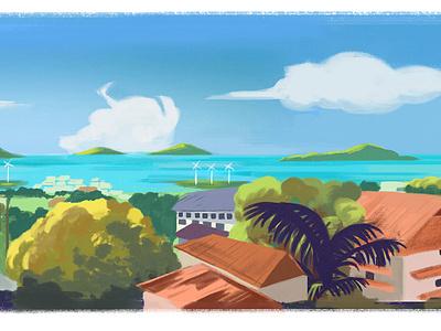 View Of Victoria bright tropical sea colourful illustration digital
