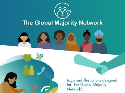 The Global Majority Network people network icon design branding colourful bright ui logo illustration digital