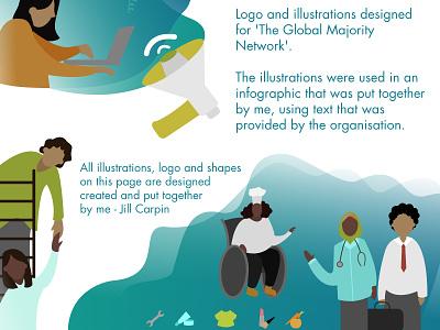 The Global Majority Network vector artwork network people bright colourful ui design illustration digital