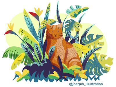 Domestic jungle cat tropical leaves plants cat vector illustration illustration affinity designer
