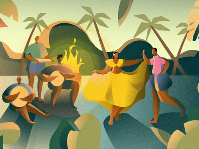 Moutya dusk indian ocean africa people palm trees fire tropical culture dance moutya seychelles affinity designer vector illustration