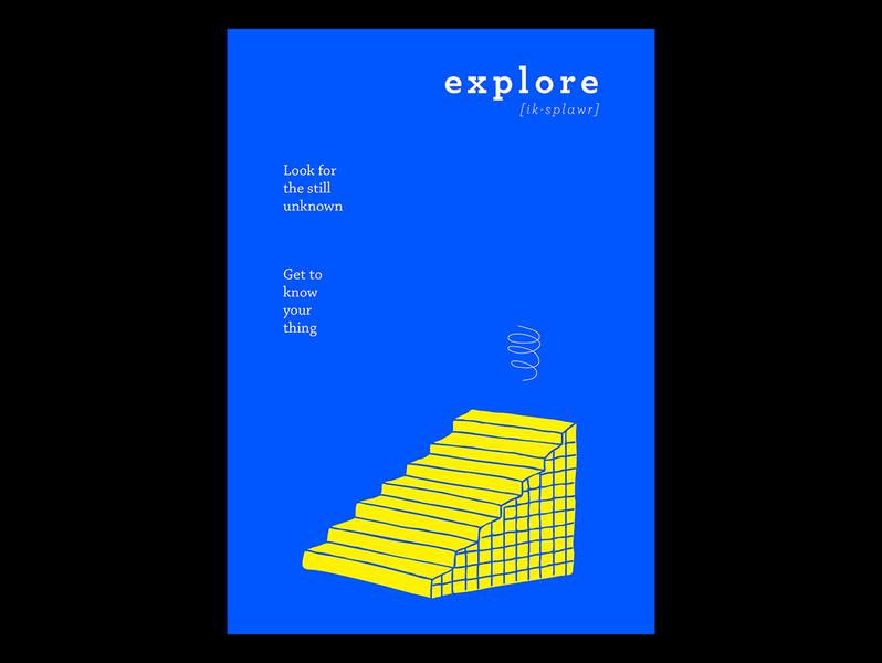 Explore steps poster minimalistic visualdesign visualart visual vector typogaphy school printdesign photoshop minimal illustration illustrator graphics flatdesign flat design clean art