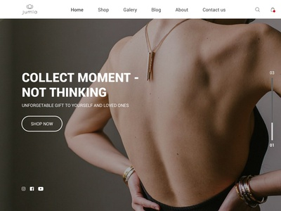 Concept Jewellery website. Home page design