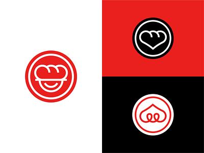The Garlic Bread Restaurant Symbols logo design minimalist symbol exploration branding gastronomy waiter vector chef garlic bread love heart fast food restaurant eat bakery happy hour smile