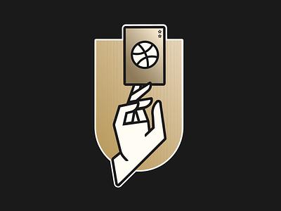 Two Dribbble invites ui sport invites vector illustration gold invitation invite ball hand basketball minimalist design logo