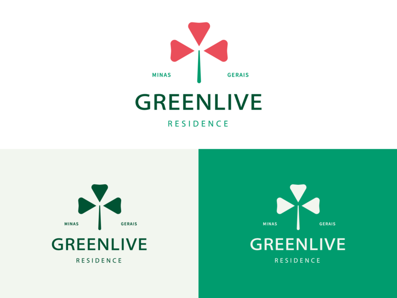Greenlive condominium residence family love heart poppy tree symbol branding minimalist logo design