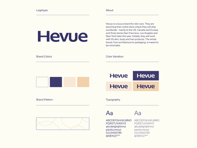 Hevue 2 typogaphy colors brand guideline wordmark branding minimalist logo design